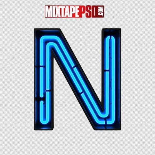 Neon Alphabet Letter N