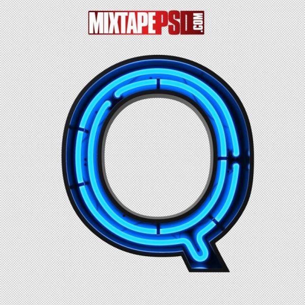 Neon Alphabet Letter Q