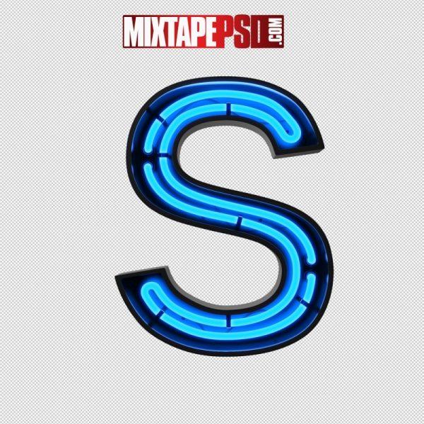 Neon Alphabet Letter S