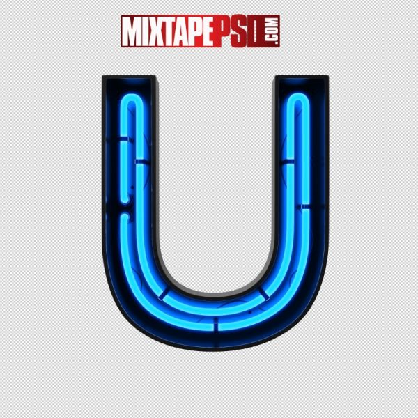 Neon Alphabet Letter U