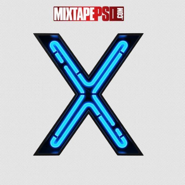 Neon Alphabet Letter X