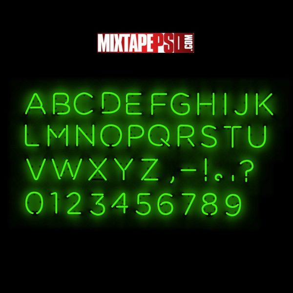 Neon Type Alphabet Numbers