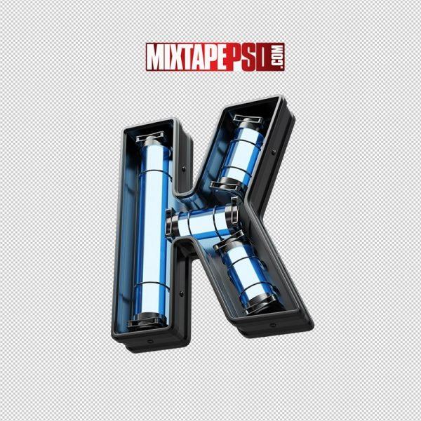 Neon Futuristic 3D Letter K