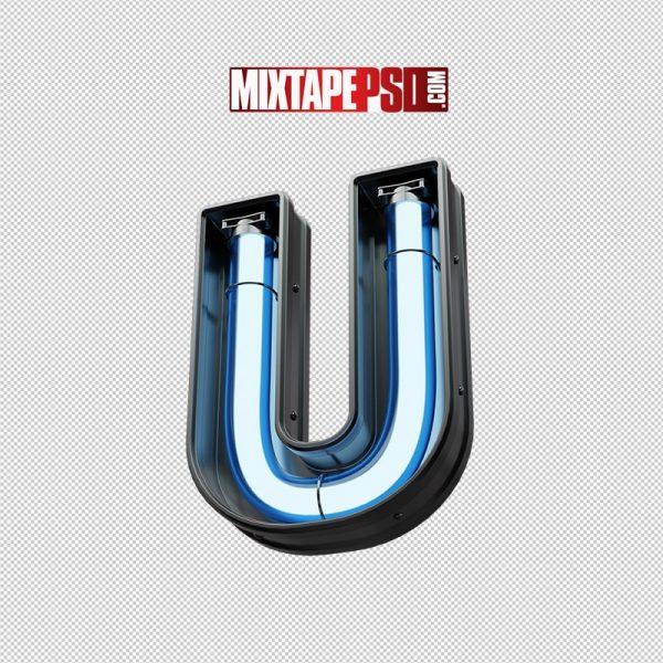 Neon Futuristic 3D Letter U