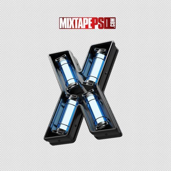 Neon Futuristic 3D Letter X