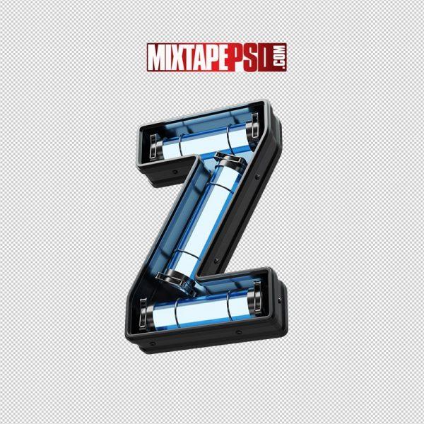 Neon Futuristic 3D Letter Z